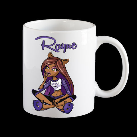 Personalised kids melamine mug, Monster High Clawdeen child's plastic mug