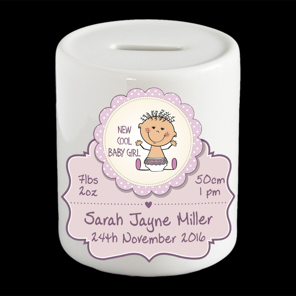 Personalised Baby Girls's money box, piggy bank, christening gift, cute baby
