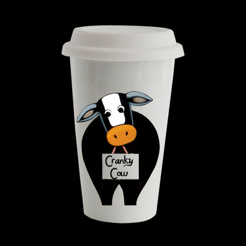 Funny Cow Eco Travel Mug, Ceramic double walled insulated mug, Cranky Cow Mug