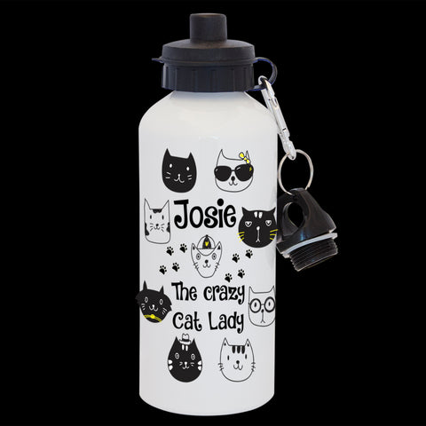 Funny Personalised Crazy Cat lady water bottle, funny cat gift bottle