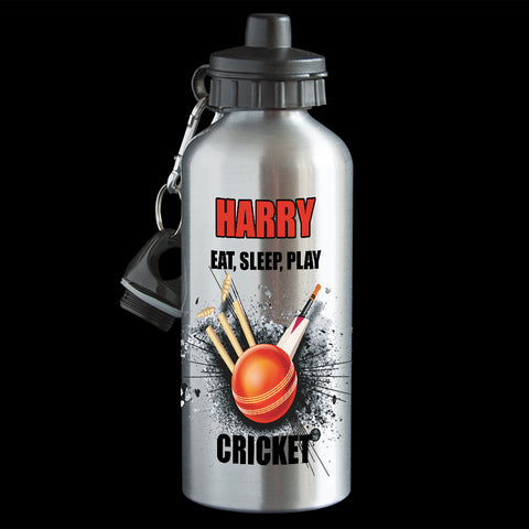 Personalised Cricket Water Bottle, Eat Sleep play Cricket Drink Bottle