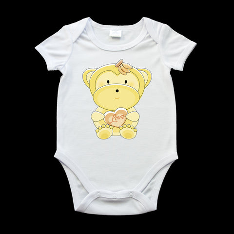Cute monkey with a heart baby onezie, monkey baby romper