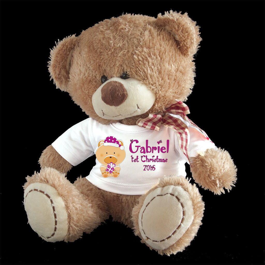 Personalised First Christmas Teddy Bear, Cute bear design