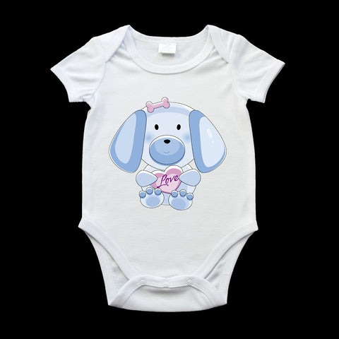 Cute puppy dog with a heart baby onezie, dog baby romper