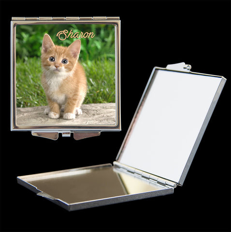 Personalised Mirror Compact Cute kitten picture, make up mirror square, heart, round