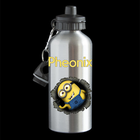 Personalised Minion Water Bottle, Minion Bob coming out of the Drink Bottle