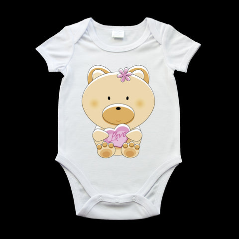 Cute Teddy with a heart baby onezie, monkey baby romper