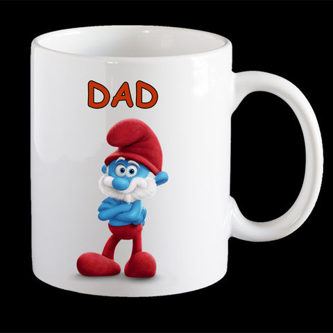 Funny Fathers Day Coffee Mug, Papa Smurf Dad Mug, Fathers Day gift