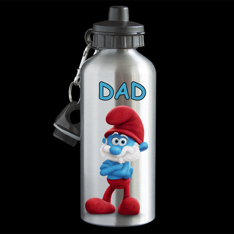 Papa Smurf Water Bottle, Smurf drink bottle, white or silver bottle