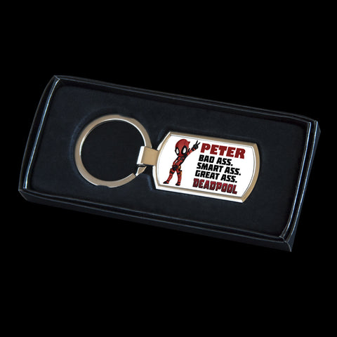 Personalised Deadpool Keyring, Deadpool tag for bag