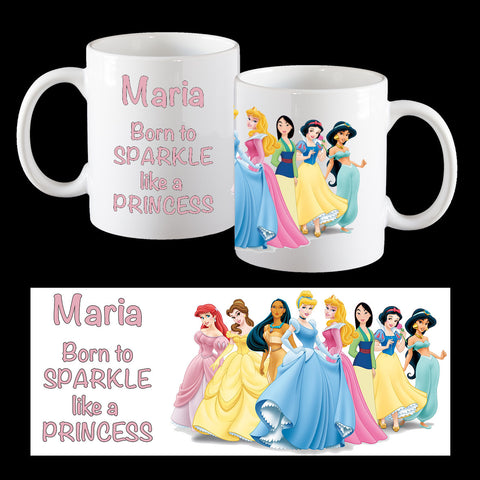 Personalised Disney Princess Mug, Born to sparkle like a Princess