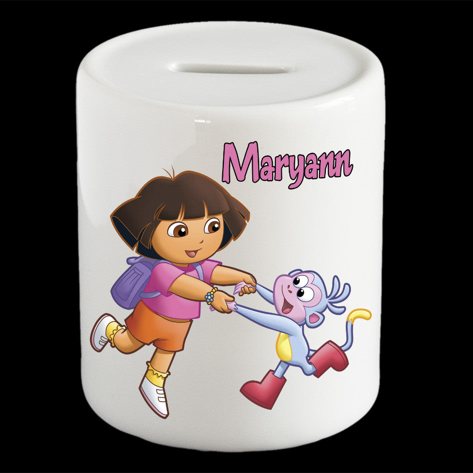 Personalised Dora the Explorer and Boots Piggy bank/money box