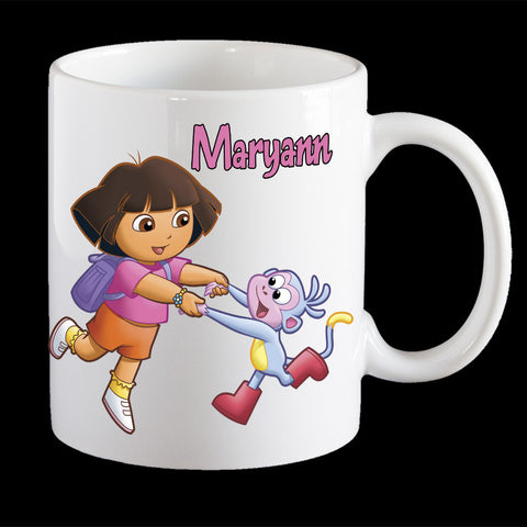 Personalised Dora the Explorer and boots Coffee Mug, Dora and Boots kids personalised cup