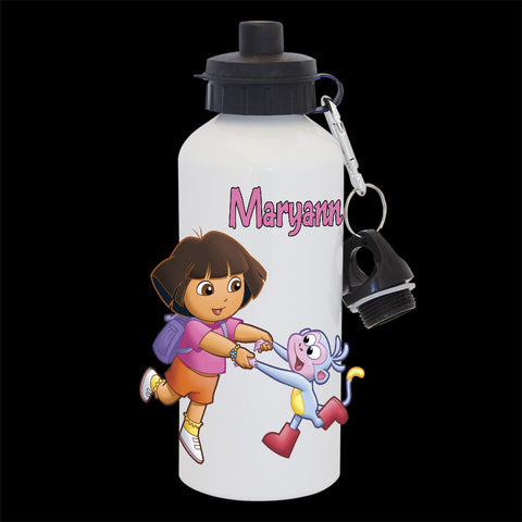 Personalised Dora the Explorer and Boots Water Bottle, Dora and Boots drink bottle