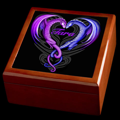 Personalised Dragon Love Jewellery Box, Valentines Day gift