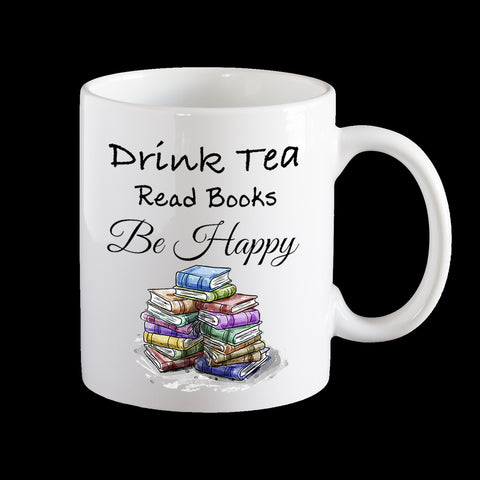 Bookworm mug, tea mug, be happy mug