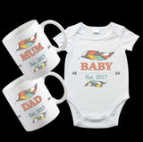 New Baby Gift Pack, including baby onesie and Mugs for Mum and Dad with cute matching boho design