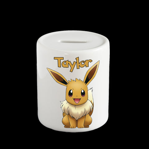 Personalised Eevee Pokemon money box, Eevee piggy bank