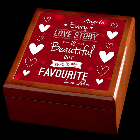 Personalised Valentines Day Jewellery Box, Favourite love story