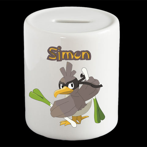 Personalised Farfetch'd Pokemon money box, Farfetch'd piggy bank