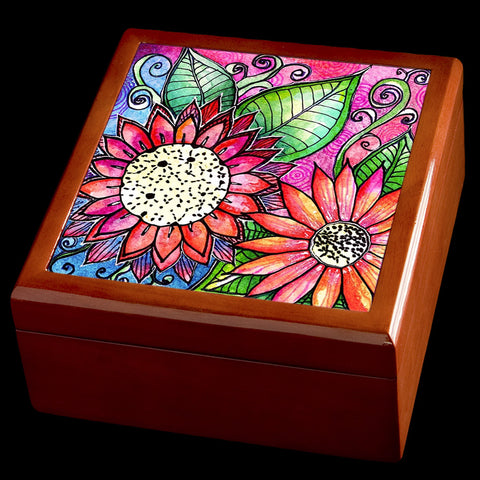 Personalised flower wooden jewellery box