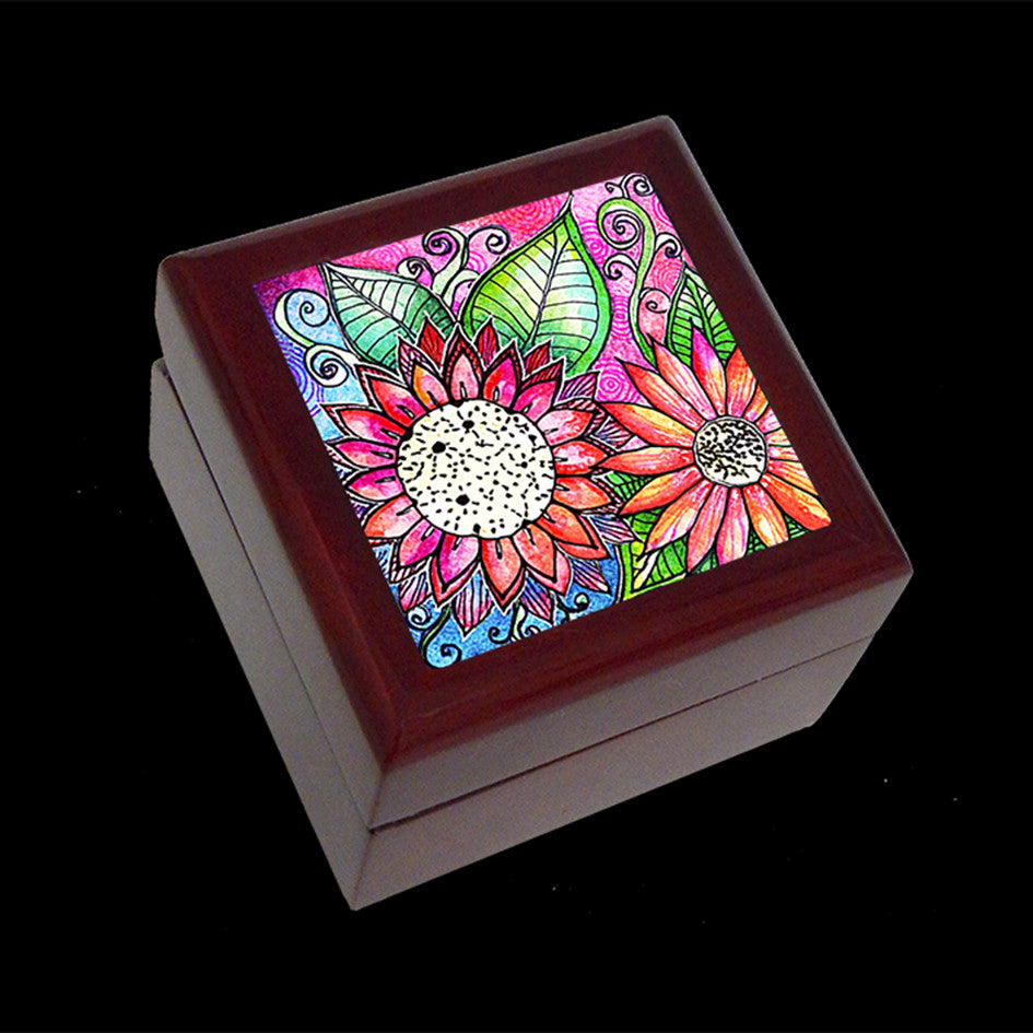Small Jewellery Box, Earring or Ring Box, Flower Art