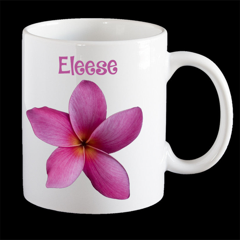 Personalised Pink Frangipani Coffee Mug, Latte Mug or Plastic Mug