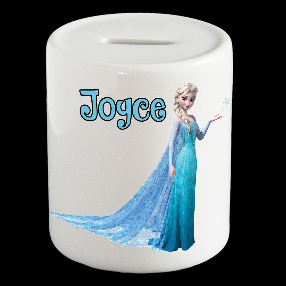 Personalised Frozen Elsa piggy bank, Frozen Elsa money box