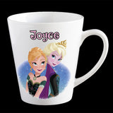 Personalised Frozen Elsa and Anna Coffee Mug, Latte Mug or Plastic Mug