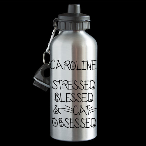 Funny Personalised Cat water bottle, stressed, blessed and cat obsessed funny bottle