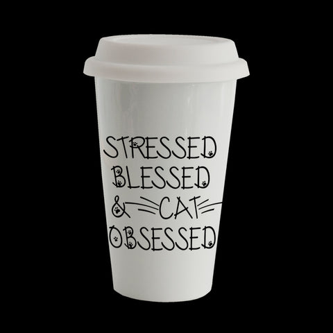 Stressed, blessed and cat obsessed funny travel mug