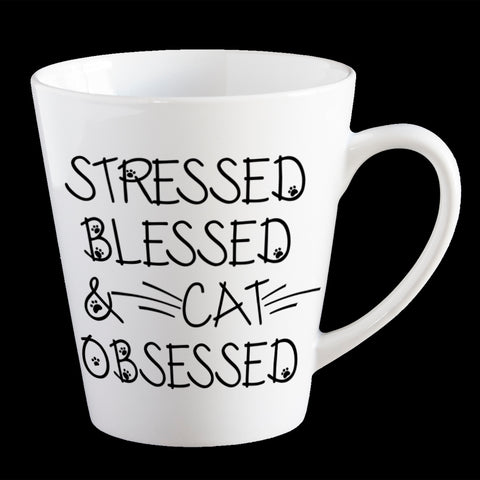 Funny Cat Coffee Mug, Stressed, Blessed and Cat Obsessed mug