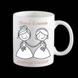 Gay Lesbian Wedding gift Personalised Mugs for the lucky couple, gay couple mug