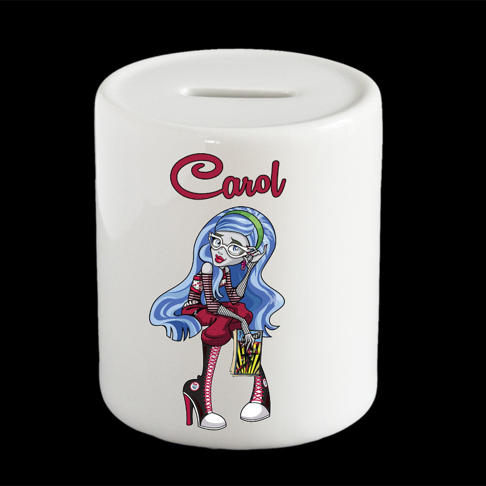 Personalised Ghoulia Yelps piggy bank, Monster High Ghoulia Yelps money box