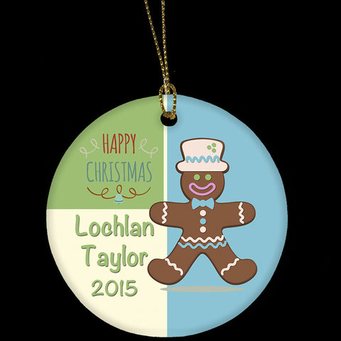 Personalised boys Christmas Ornament, Ceramic Ornament with Gingerbread man Christmas picture