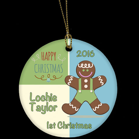Ceramic Christmas decoration personalised, 1st Christmas decoration