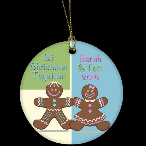 Personalised 1st Christmas together Ornament, Ceramic Ornament with a gingerbread man and woman