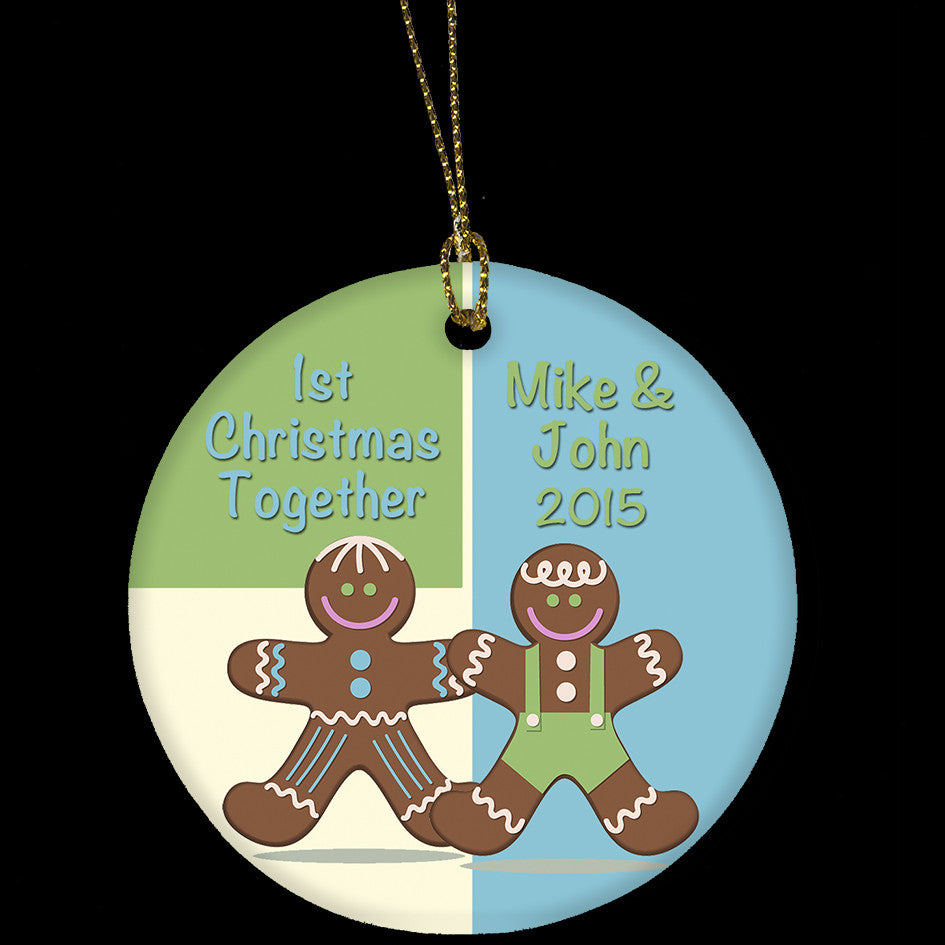 Gay couple 1st Christmas personalised ceramic ornament