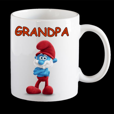 Funny Fathers Day Coffee Mug, Papa Smurf Grand father Mug, Fathers Day gift