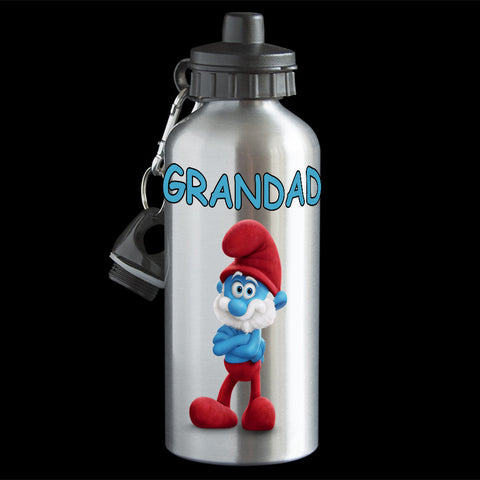 Father's Day Grandpa water bottle, Papa Smurf Water Bottle, Smurf drink bottle, white or silver bottle