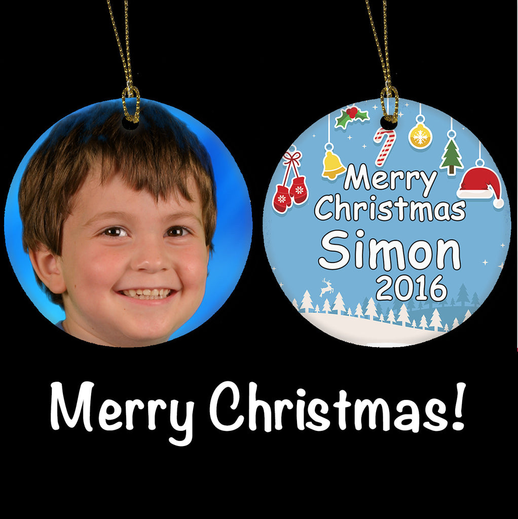 Personalised Photo Christmas Ornament, Photo gift Ceramic Christmas Tree Ornament