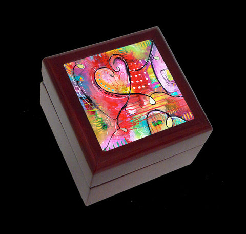 Small Jewellery Box, Earring or Ring Box, Hearts Art