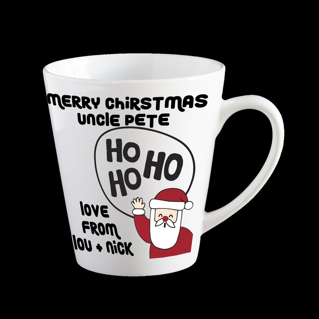 Personalised Christmas Mug with Ho Ho Ho Santa