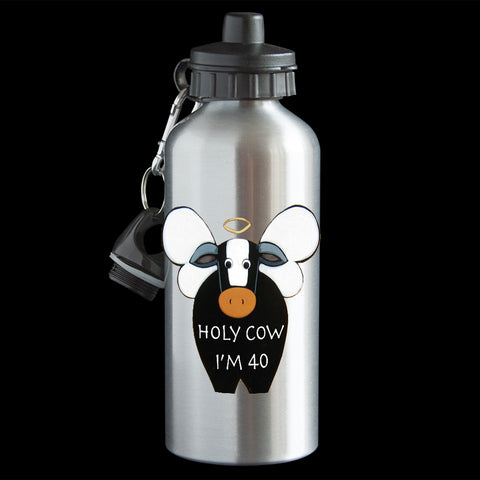 40th birthday Funny Personalised water bottle, Holy Cow I'm 40, 40th birthday drink Bottle