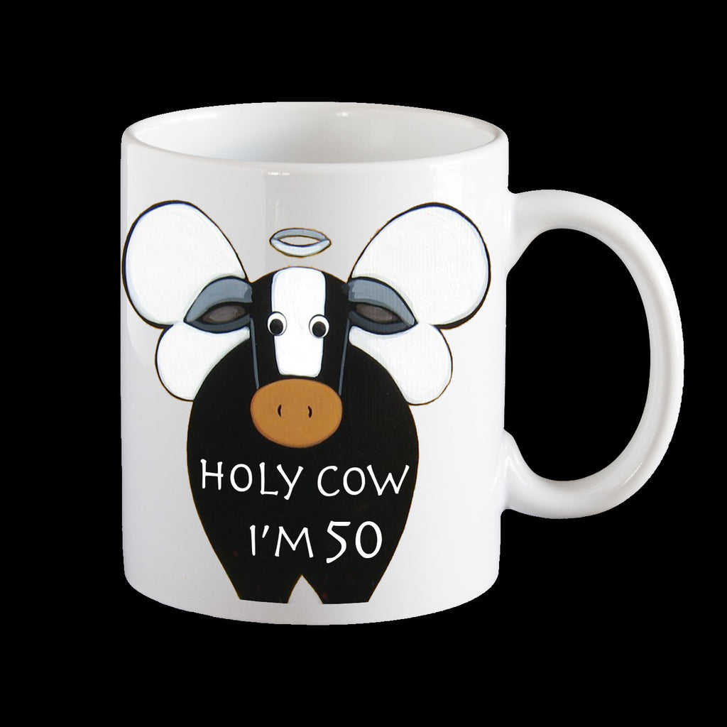 funny 50th birthday mug, holy cow I'm 50
