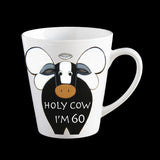funny 60th birthday mug, funny cow mug