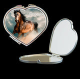 Personalised Mirror Compact Horse picture, make up mirror square, heart, round