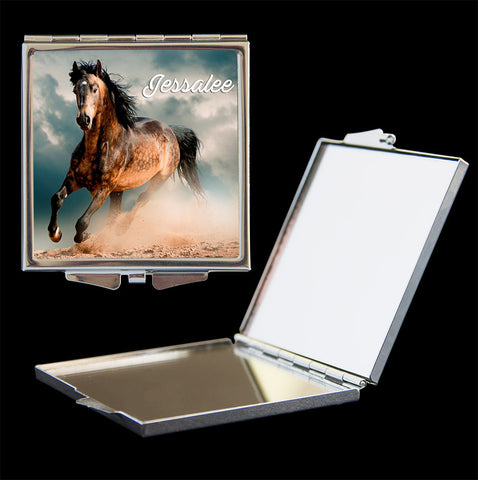 Personalised mirror compact with horse picture