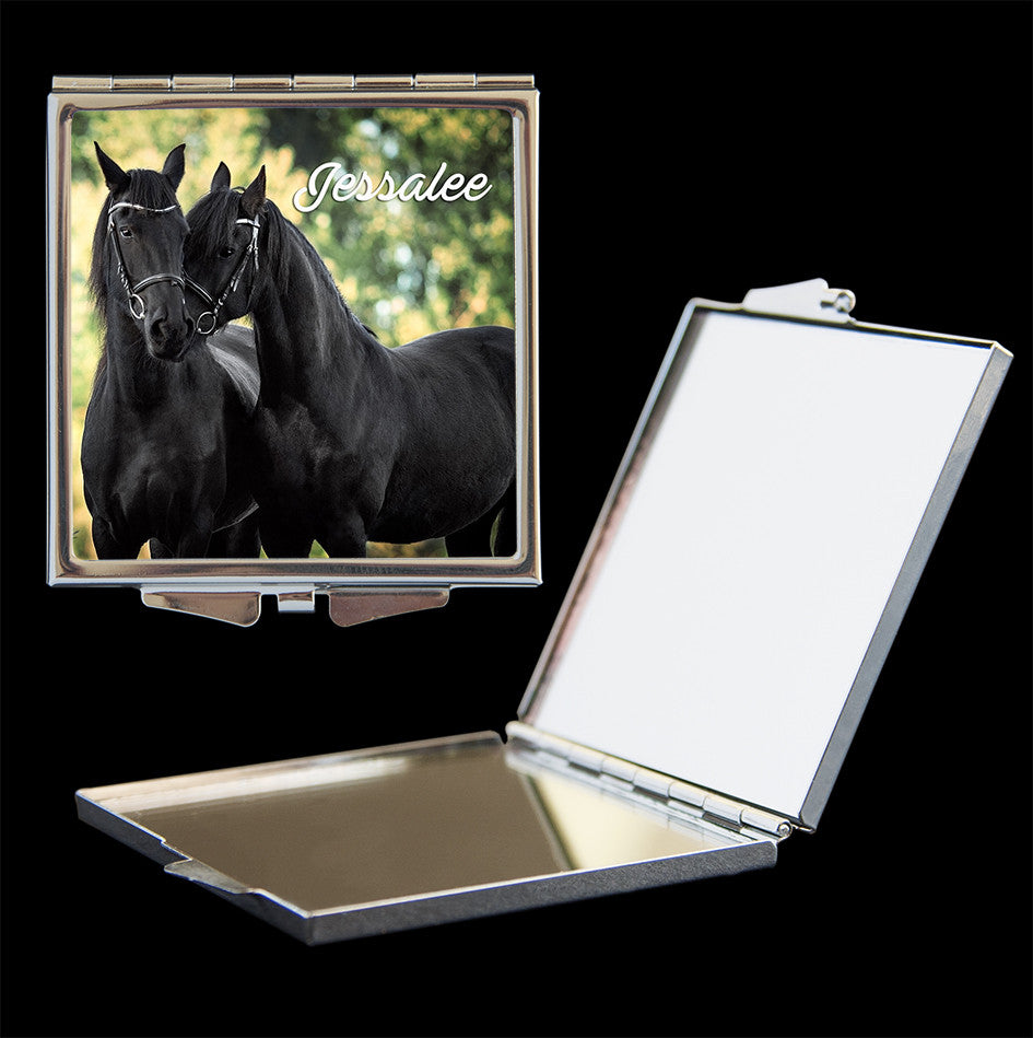 Personalised Mirror Compact 2 black horses picture, make up mirror square, heart, round