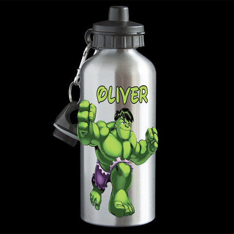 Personalised Hulk Water Bottle, Fun Hulk Aluminium drink bottle